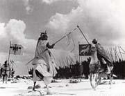 Le Prince russe Alexandre Nevski bat les chevaliers teutoniques sur le lac Tchudskoe